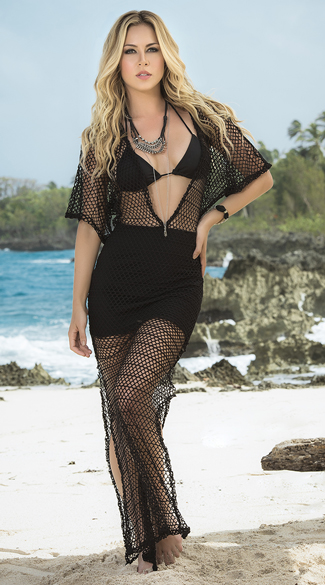 Crochet Beach Maxi Dress - Black