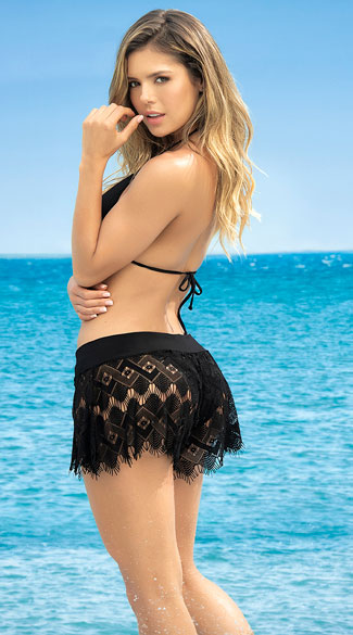 Adore Me Eyelash Lace Cover-Up Shorts - Black