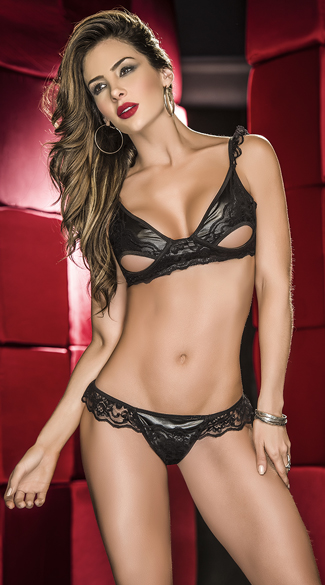 Wet Look and Ruffled Lace Bra Set, Wet Look Bra Set, Black Peekaboo Bra Set