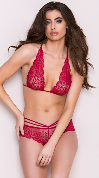Strappy Burgundy Lace Bra Set Sheer Lace Bra Set