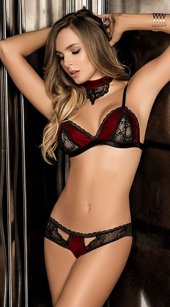 f492e1ebddf Love Me Velvet Bra Set - Black Burgundy ...