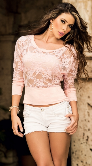 Floral Lace Top With Bandeau Under Panel Sheer Lace Top