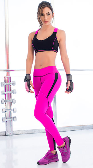 Magenta and Black Gym Set, Black and Pink Criss-Cross Sports Bra, Criss-Cross Sports, Black and Pink Sports Bra, Two Tone Active Leggings, Stretchy Gym Pants, Workout Pants