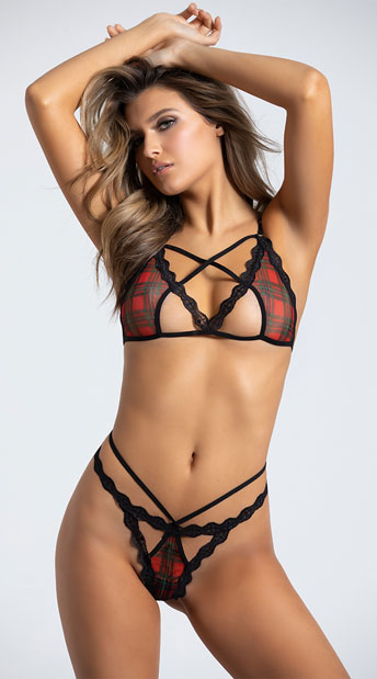 78020627350f2 Yandy Penetrating Plaid Cross My Heart Bra Set