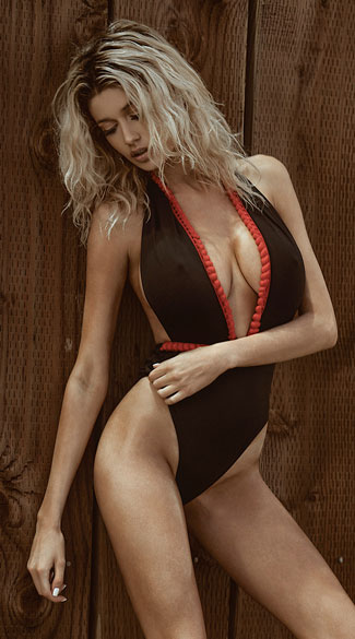 Yandy Plunging Black And Red One Piece Swimsuit - Black