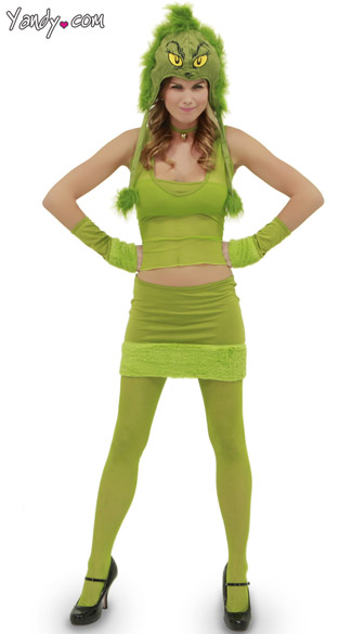 Grinch Hood and Green Costume Dr. Seuss Accessories Green Girl Costume Halloween Costume  sc 1 st  Yandy & Grinch Hood and Green Costume Dr. Seuss Accessories Green Girl ...