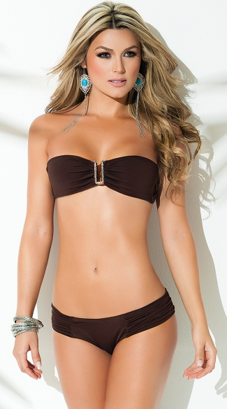 Exclusive Brown Bandeau Top - Brown