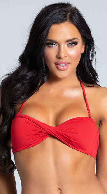 Yandy Twisted Bandeau Bikini Top - Red