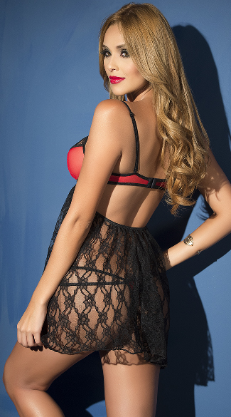 Yandy Flyaway Red and Black Lace Babydoll Set - Black/Red
