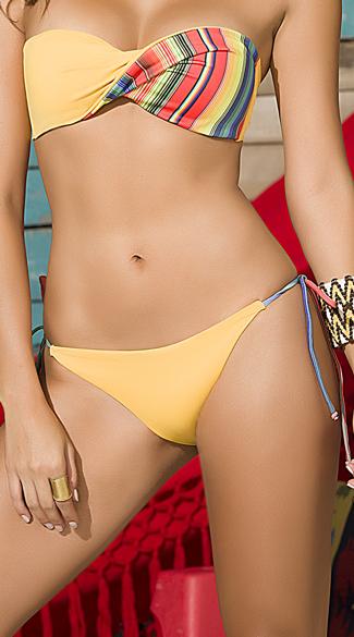 Yellow Serape String Bikini Bottom - Yellow