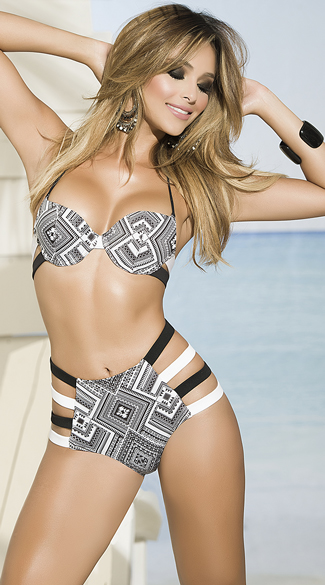 Yandy Geometric High Waisted Bikini - as shown
