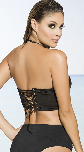 Black Longline Bikini Top - Black