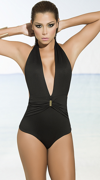 a524f380cce Beach Goddess One Piece Swimsuit, Low Cut Swimsuit, Black One Piece ...