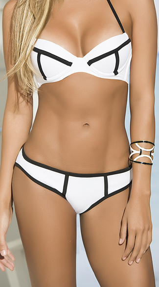 Black and White Basic Bikini Bottom, Black and White Bikini Bottoms, Basic Bikini Bottoms