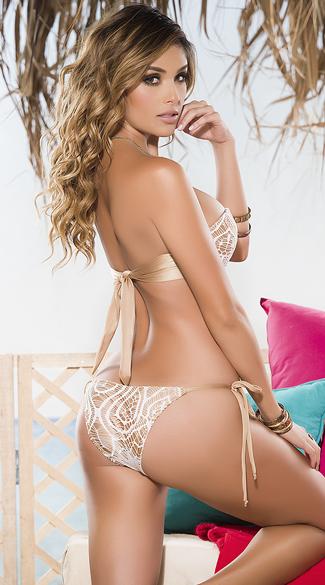 Yandy Gold and White Crochet Bikini - as shown