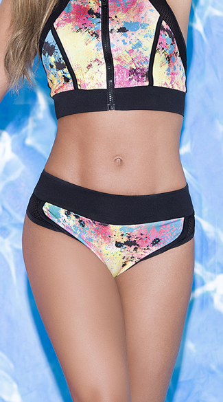 Sporty Chic Splatter Print Bikini Bottom - As Shown