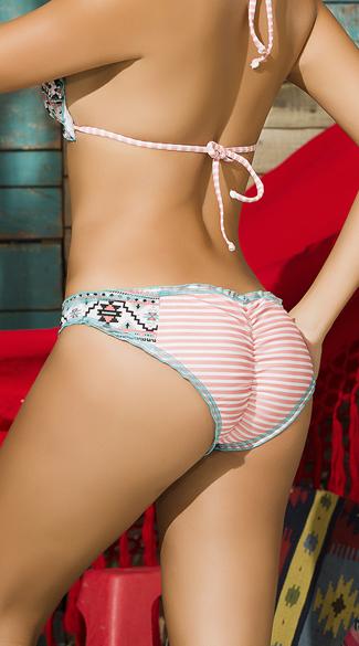 Ruffled Tribal Striped Bikini Bottom - As Shown
