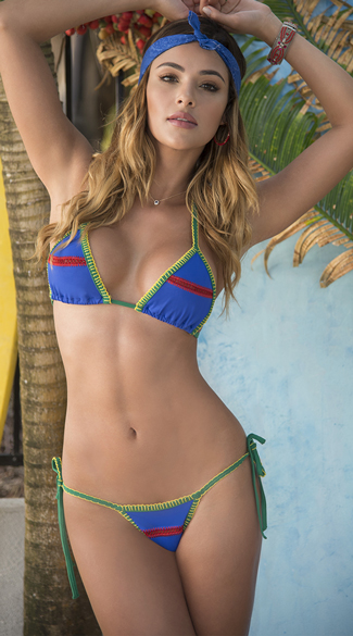 Sexy Yandy Colorful Embroidered String Bikini