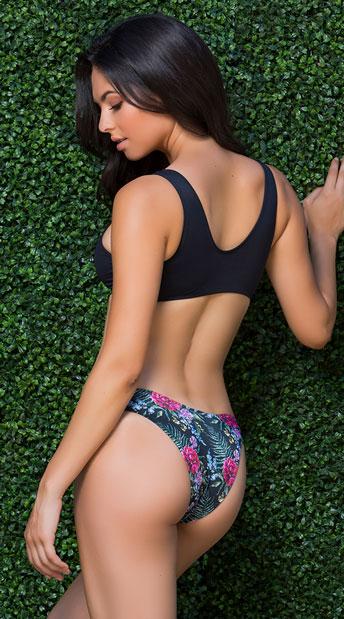 Yandy Vibrant Blossoms Basic Bikini Bottom - Pink