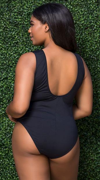Plus Size Yandy Laced One Piece Swimsuit - Black