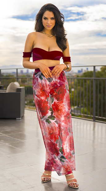 Yandy Burgundy Beauty Skirt Set, floral skirt set - Yandy.com