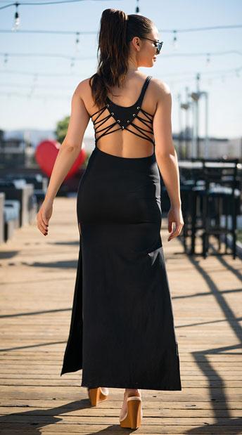 Yandy Interlaced Cover-Up Dress - Black