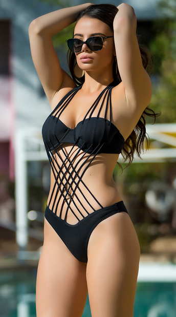 Yandy Interwoven Beauty One Piece Swimsuit - Black
