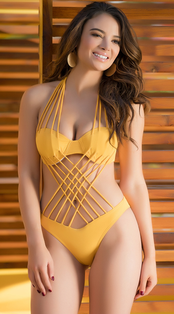 Yandy Interwoven Beauty One Piece Swimsuit - Mustard