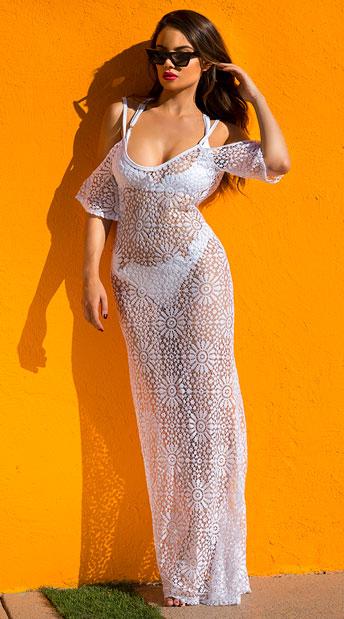 Yandy Daisy Crochet Cover-Up Dress - White