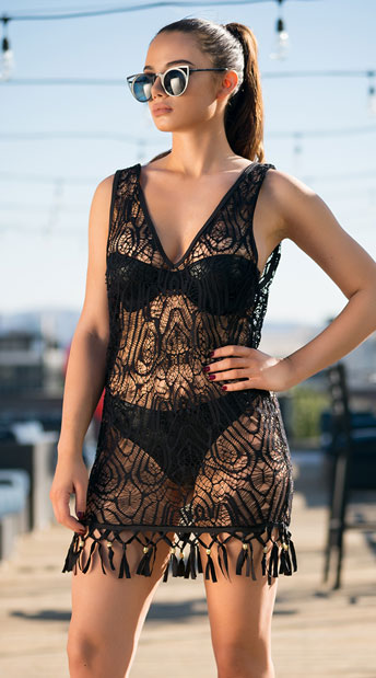 Yandy Sultry Crochet Cover-Up - Black