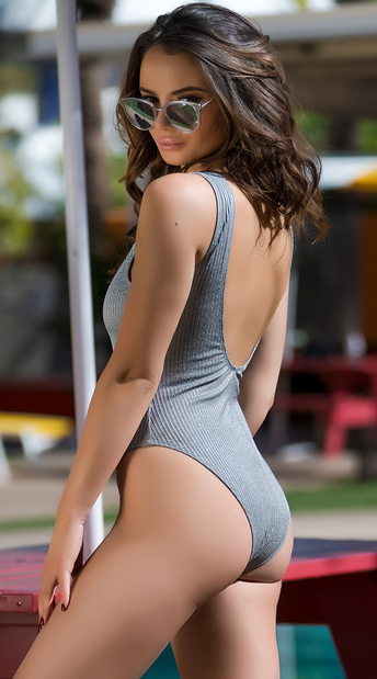 Yandy So Casual One Piece Swimsuit - Grey