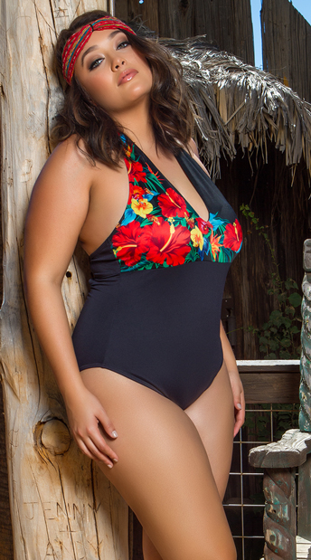Yandy Plus Size Bonita Beauty One Piece Swimsuit - Black