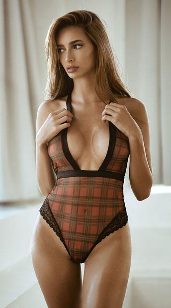 Yandy Plaid Appease Me Bodysuit - Black/Red Plaid