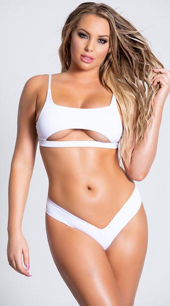 Yandy Morganite Glow Peek-A-Boo Bikini Bottom - White