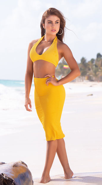Yandy Anchors Away Multi-Way Cover-Up - Mustard
