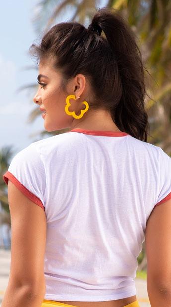 Yandy I Love The 70s Swim T-Shirt - White/Terracotta