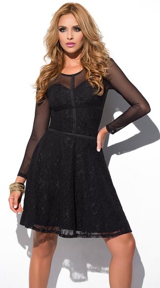 Yandy Sweetheart Lace Dress - Black