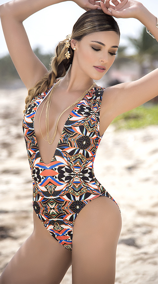 Sexy Yandy Plunging Tribal One Piece Swimsuit