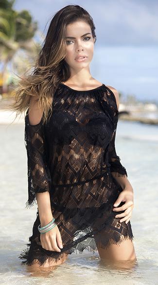 Sexy Yandy Black Crochet Cover Up Dress