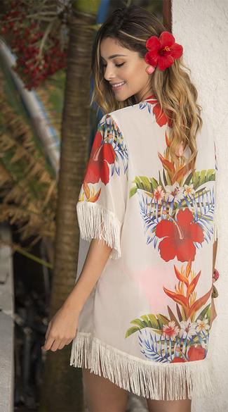 Yandy Tropical Kimono Cover-up - White