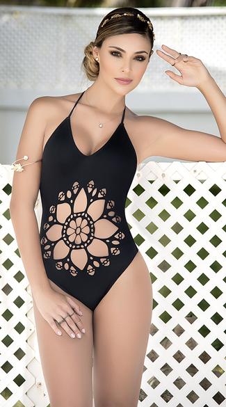 Yandy Cut-Out Mandala One Piece Swimsuit - Black