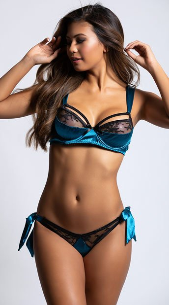 Quinn Satin Bra Set - Peacock Blue