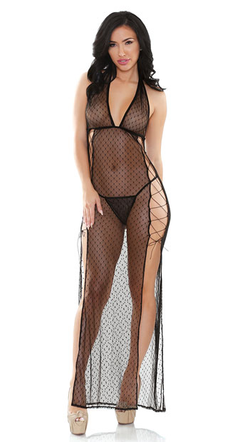 Vivica Dot Mesh Gown Set - Black