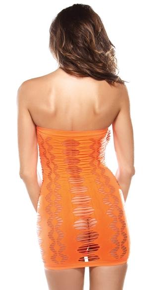 Neon Orange Diamond Cutout Tube Dress - Orange