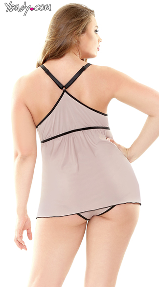 Plus Size Cami Top and Panty Set - as shown