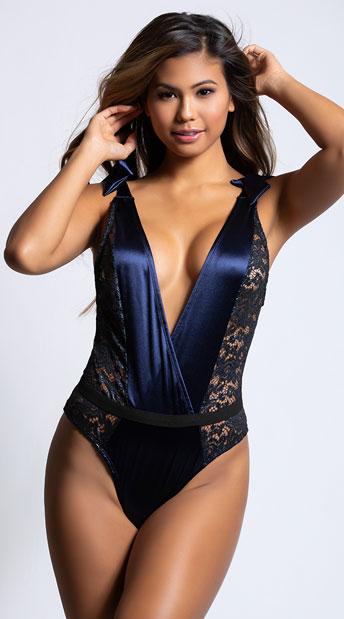 da9182f3b Frostbite metallic bodysuit blue satin bodysuit jpg 344x619 Satin bodysuit  lingerie