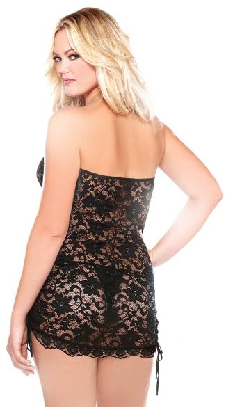 Plus Size Strapless Lace Dress Chemise - Black