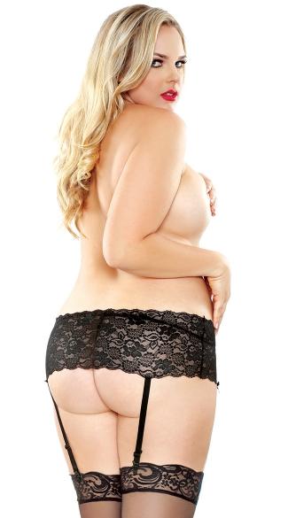 Plus Size Stretchy Lace Garter Belt and Stocking Set - Black