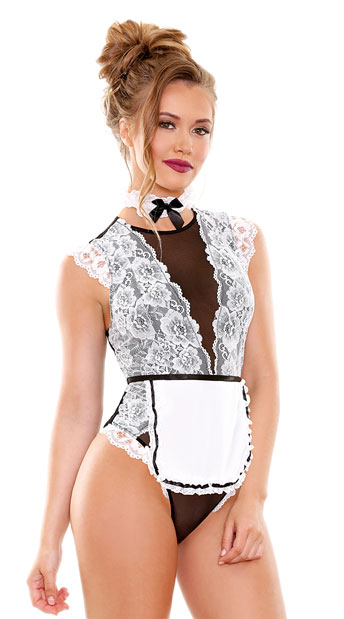 Hot Mess Maid Lingerie Costume - White/Black