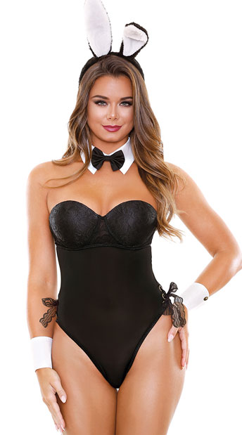 Bunny Behavior Lingerie Costume - Black